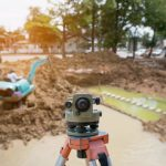 Land surveying on a residential property